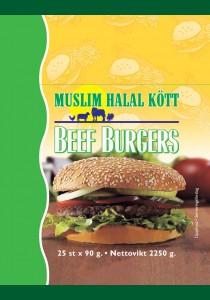 25 Halal Beef Burger  6,75 3x2,25g (90x25st) (Fryst)