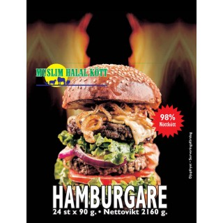 Hamburgare Muslim 90g (98%Nöt) 3x2160g Fryst