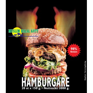 Hamburgare Muslim 150g (98%Nöt) 2x3kg Fryst