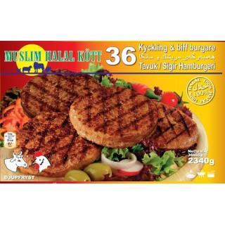 36-Nöt/Kyckling burger 6x2,340g (Fryst)