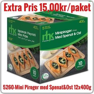 5260-Minipiroger (Mini Pide) med Spenat&Ost 12x400g Fryst
