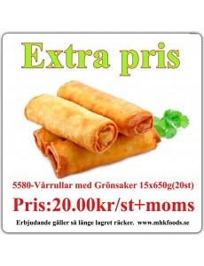 5580-Vårrullar med grönsakerfyllning 15x650g (20st) Fryst
